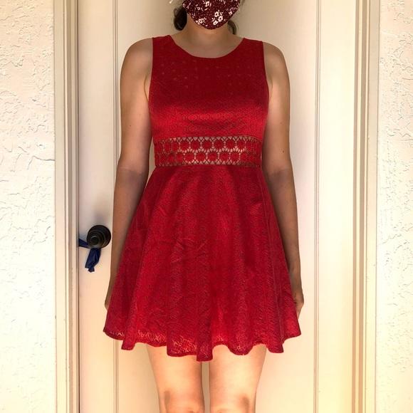 Free People Red Lace Daisy Cutout Dress